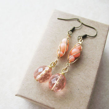 Peach Queen Dangle Earrings - Czech Glass With Vintage Components