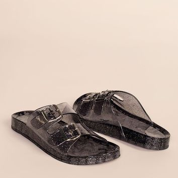 It's Just An Illusion Lucite Sandals - Black