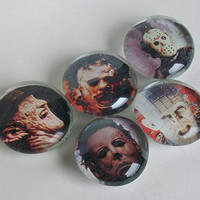 Horror Movie Glass Magnets / Halloween Magnet Set / Michael Myers / Freddy Krueger / Jason Voorhees