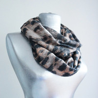 Handmade Leopard Infinity Scarf - Jersey Cotton - Salmon Black Brown - Winter Autumn Scarf