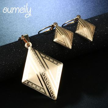 OUMEILY  Fashion Wedding Jewelry Set Necklace Earrings Women Indian Party Bridal Jewellery Cold /Silver ColorVintage Accessories