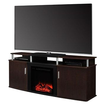 Electric Fireplace TV Stand in Cherry Black Wood Finish