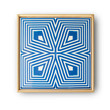 Ceramic Tile - NEW PRICE! - Framed, abstract, linear geometric pattern wall art - An original, decorative, blue and white, 6 x 6 tile