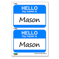 Mason Hello My Name Is - Sheet of 2 Stickers