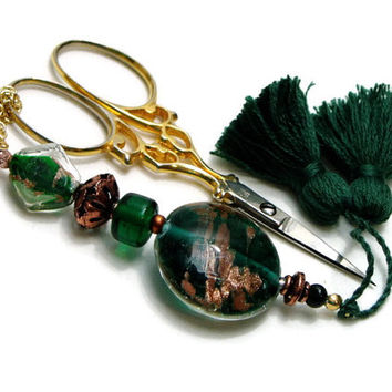 Scissor Fob, Cross Stitch, Needlepoint ,Sewing, Quilting, Gift, Emerald Green, Copper, Beaded, DIY Crafts