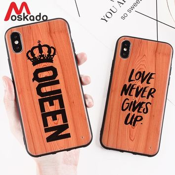 Cool Moskado QUEEN KING Crown Couples Phone Cases For iphone X 8 7 6 6S Plus Glossy TPU+PC Back Cover Antique Wood Pattern Case CoqueAT_93_12
