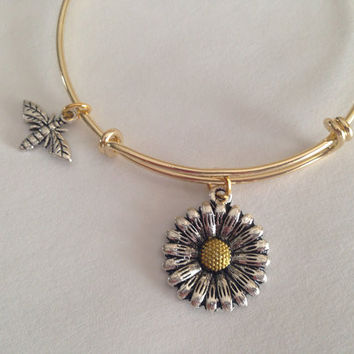 Daisy and Bee Charm Adjustable Expandable Bangle Bracelet Gold Handmade Wire Bangle Stacking Bangle Trendy