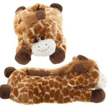 Wishpets Adults Medium Tan Giraffe Slippers