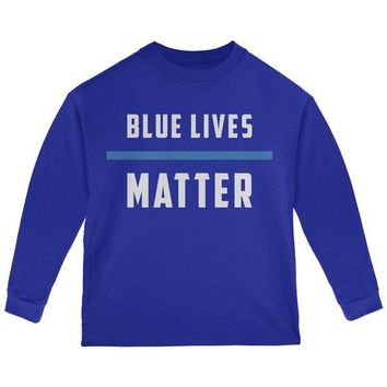 PEAPGQ9 Police Blue Lives Matter Thin Blue Line Toddler Long Sleeve T Shirt