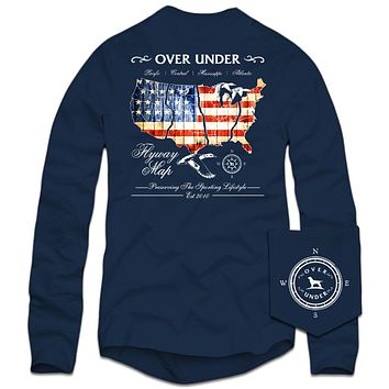 Long Sleeve Flyway Map T-Shirt in Navy by Over Under Clothing