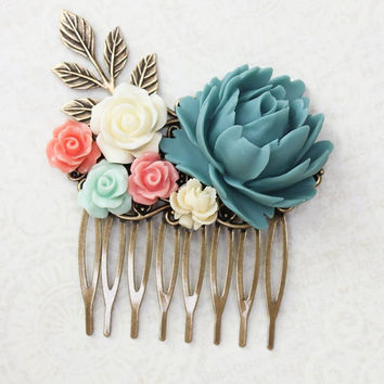 Blue Rose Comb Coral Rose Floral Comb Country Wedding Hair Comb Flower Adornment Bridesmaids Hair Accessories Hair Piece Bridal Hair Comb