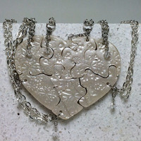 Heart Shaped Puzzle Necklaces Set of 7 Snowflake Stamped Necklaces with Swarovski Crystals