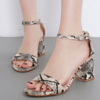 New sexy kitten heel sandals with snakeskin buckle