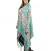 Mint and Gray Fringe Sweater Cardigan - B54