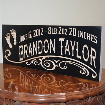 Rustic Baby Sign, Baby Name Sign Ideas, Baby Birth Sign, Custom Wooden Baby Sign, Benchmark Custom Signs Maple FP