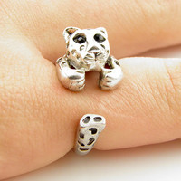 Leopard Animal Wrap Ring - SILVER - Size 6