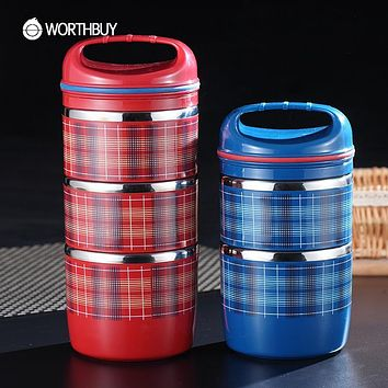 WORTHBUY Stainless Steel Japanese Thermal Bento Box Portable Fruit Food Containers Sealed Striped Lunch Boxs For Kids Picnic Set