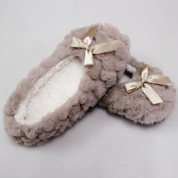 New Winter Warm At Home Women Slippers Cotton Shoes Plush Female Floor Shoes  Bow-knot Fleece Indoor Shoes Woman Home Slippe