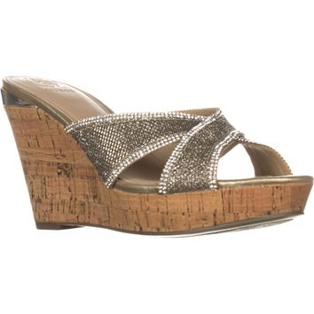 Guess Eleonora4 Wedge Sandals, Gold Multi, 9 US
