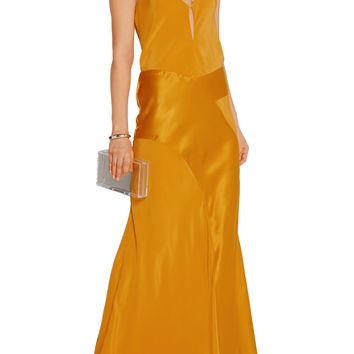 Satin-paneled silk crepe de chine gown | Michelle Mason | US | THE OUTNET