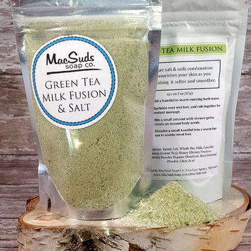 Green Tea Bath, Milk Bath, Epson Salt, Honey Bath, Bath soak, Nourish soften skin, Relaxing Salt Bath, Soothes skin, Bridal Shower Gift