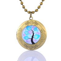 Encounter Life Tree Glass Cabochon on Round Antique Bronze Photo Locket Pendant Ball Chain Necklace
