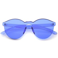 GET DAZED Colored Rimless Sunglasses in Neon Blue at FLYJANE