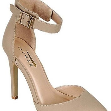 """Yuni"" Ankle Strap Almond Toe High Heels - Nude"