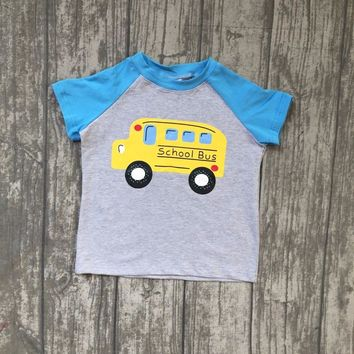 2018 new back to school Summer short sleeve top boutique outfits school bus top boy kids cotton clothing 4T-8T available