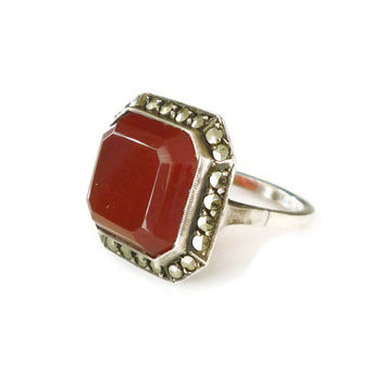 Art Deco Ring Germany Sterling Silver Carnelian Marcasite Antique Jewelry