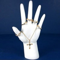 Polystyrene White Hand Ring Display Jewelry Stand 8""