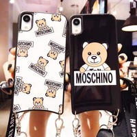 MOSCHINO fashion hot selling casual bear printed arc glass woven hanging rope mobile phone Iphone case