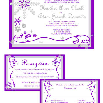 Instant Download-Winter Wonderland Purple Snow Wedding DIY Printable Template Invitation RSVP Thank You Card Bridal Shower Elegant Baby