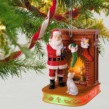 Once Upon a Christmas Stockings Hung With Care Musical Ornament With Light