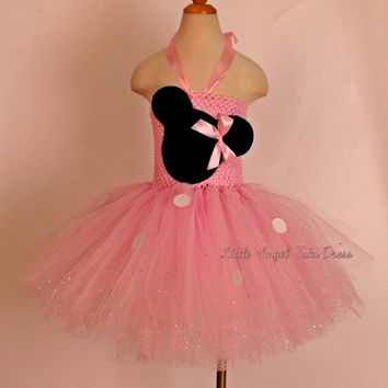 Minnie Mouse Glitter Tutu Dress. Handmade Dress.Pink Minnie Mouse Tutu Dress. Cake Smash. Birthday Party Dress. Fully Lined Top