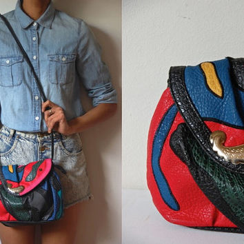 Vtg 80's Embossed Leather Colorful Crossbody Bag