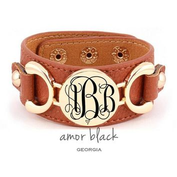 Monogrammed Gold Plated Vinyl Leather Cuff Bracelets