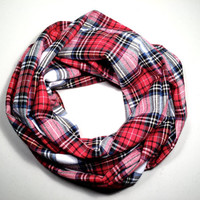 Single Loop Infinity Scarf Tartan Flannel Birthday Present, Christmas Gift
