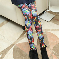 Multicolor Leaves Print Elastic Waist Leggings