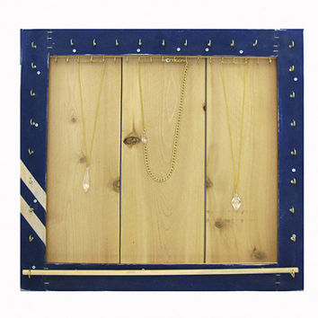 Jewelry Organizer // Store, Organize & Display Necklaces, Bracelets, Rings // Wood Wall Mount Jewelry Holder / Navy Blue / Eco-Friendly Gift