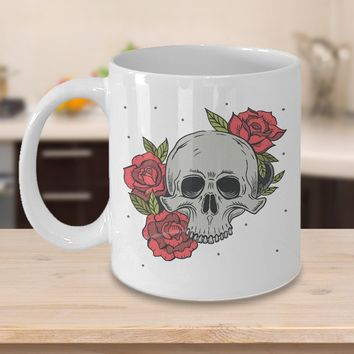 Skull and Roses Tattoo 11oz White Coffee Mug