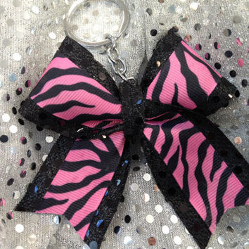 1Pink and Black Zebra Bling Keychain Holders Bow Ribbon Cheer Dance
