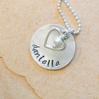Name Necklace with pearl and Heart Charm Personalized Name Necklace