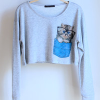 Pocket Kitty Crop Tee (MORE COLORS)