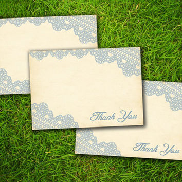 Vintage Lace Classic Grayish Blue Formal Customizable Wedding Elegant Thank You Card - Double Sided DIY Printable