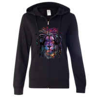 Space Galaxy Lion Face Dreadlocks Ladies Zip-Up Hoodie