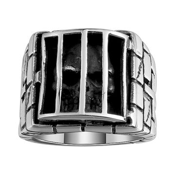 Vintage Punk Style Stainless Steel Skull Cage Finger Rings For Men's Birthday Gifts