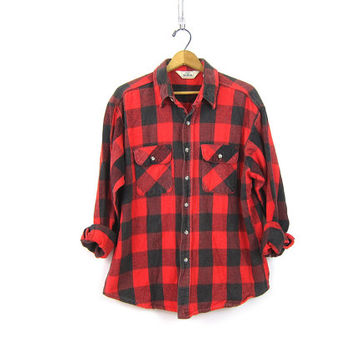 Buffalo Plaid Shirt Cotton Flannel Red Black Lumberjack Button Up Long Sleeve Oversized Grunge Vintage Mens Rugged Work Shirt Size XL