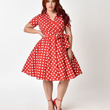 Plus Size 1950s Style Red & Ivory Polka Dot Short Sleeve Flare Dress