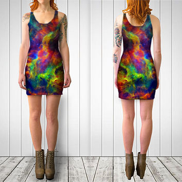 Wearable Art, custom made, exclusive design, artful stretch bodycon dress, shaping and flattering, Galaxy colorful stars design, club summer